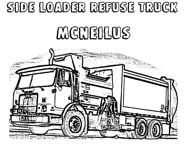side loader refuse garbage truck coloring pages