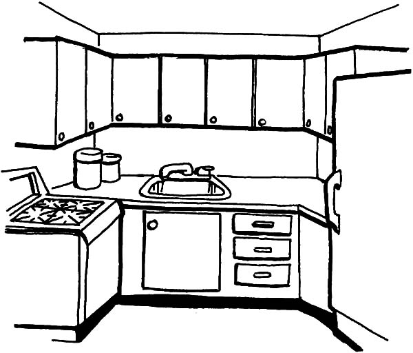 Simple Kitchen Coloring Pages