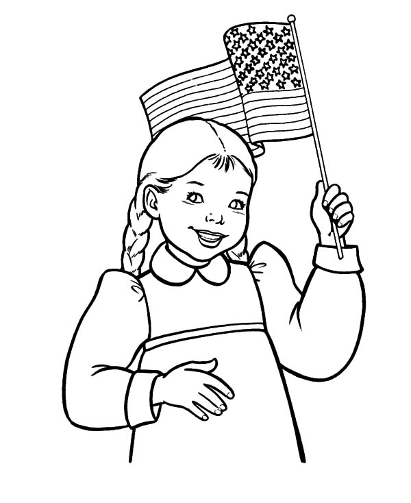 Smiling Girl Waving Flag on Flag Day Coloring Pages Download