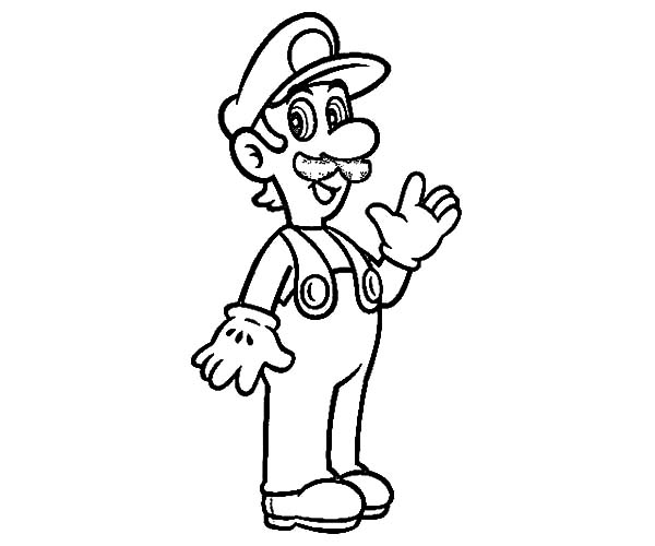 Smiling luigi coloring pages