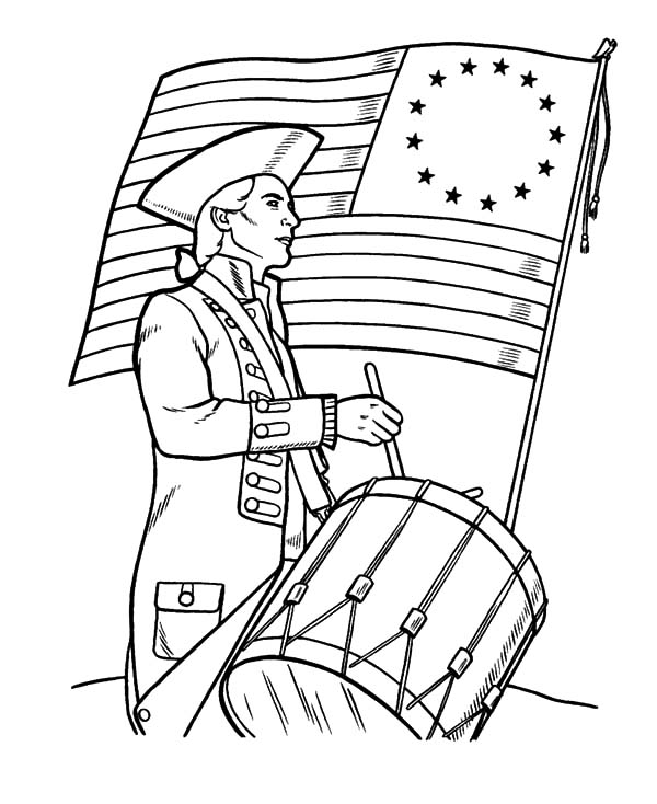 Soldier Beating Drums on Flag Day Coloring Pages