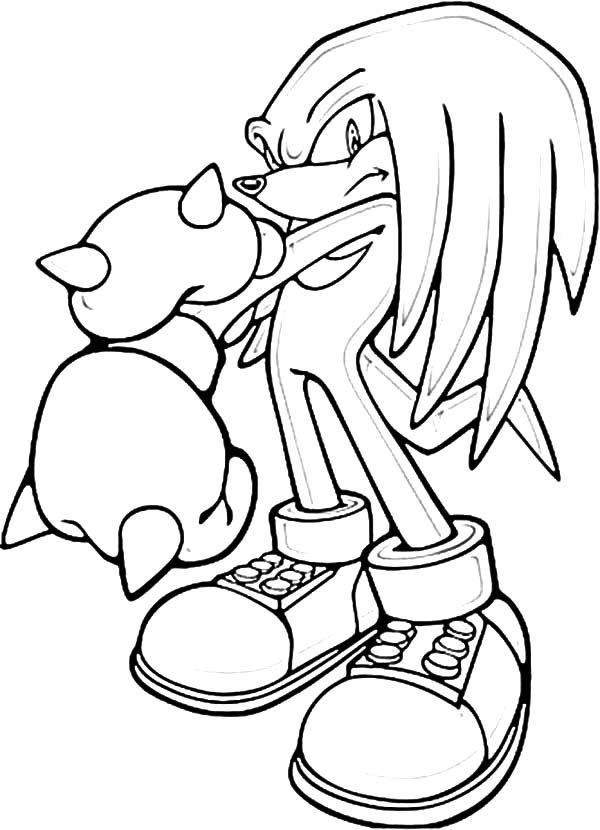 Sonic Knuckles Punch Break Coloring Pages