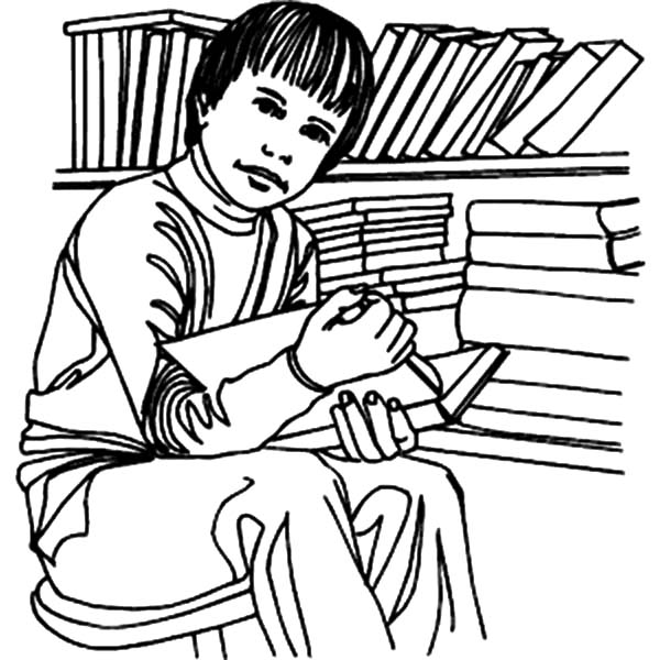 Student Studying in Library Coloring Pages