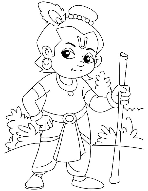 krishna balram crtoon colouring pages page 3 krishna with