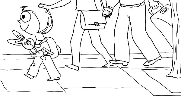 Trixie Walking with Knuffle Bunny Coloring Pages Trixie Walking