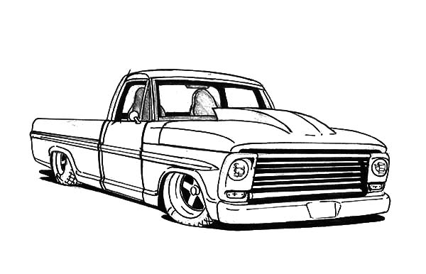 Truck Lowrider Cars Coloring Pages 600x386