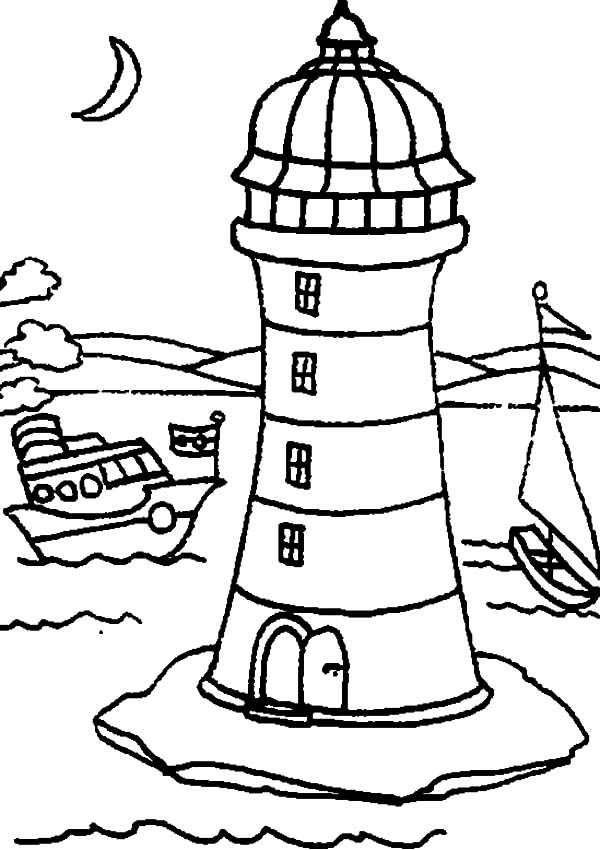 lighthouse two boat passing lighthouse by coloring pages two boat passing lighthouse by coloring