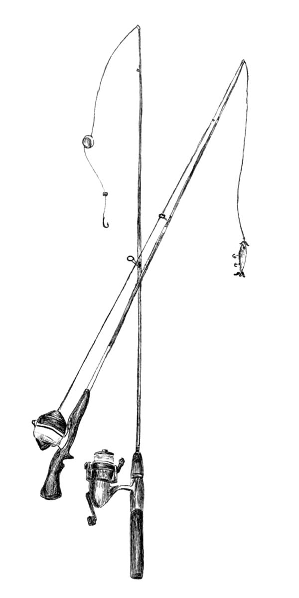 Two Fishing Pole Coloring Pages