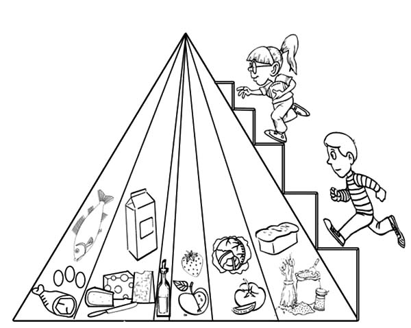 Food Pyramid, : Two Kids Stepping on Food Pyramid Coloring Pages
