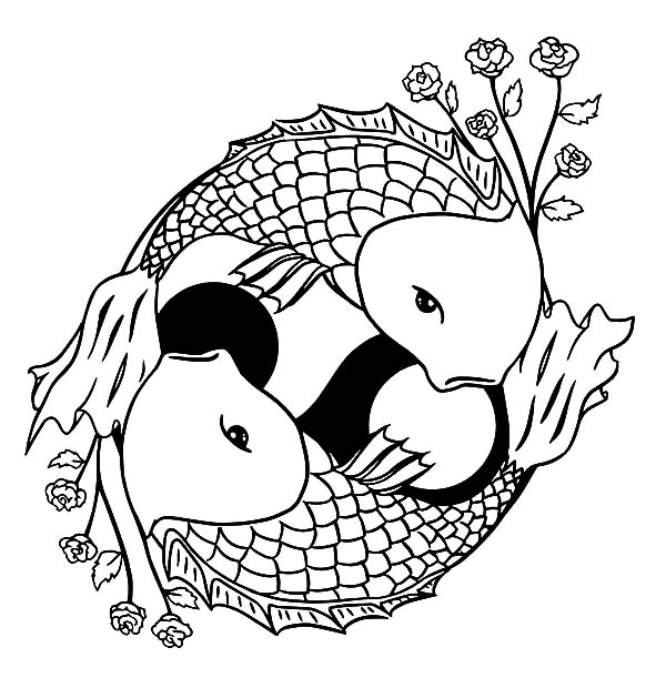 two koi fish formed yin yang sign coloring pages - Koi Fish Coloring Pages