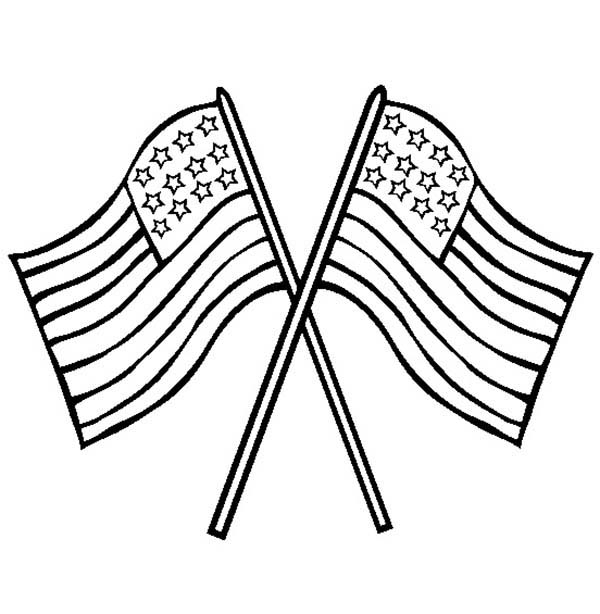 US Flag Crossed on Flag Day Coloring Pages