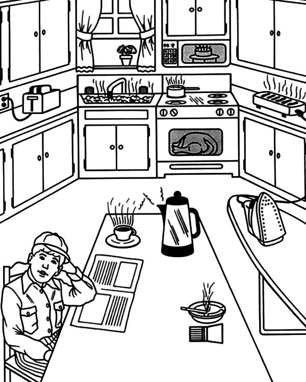 Waiting for Breakfast in the Kitchen Coloring Pages Waiting for