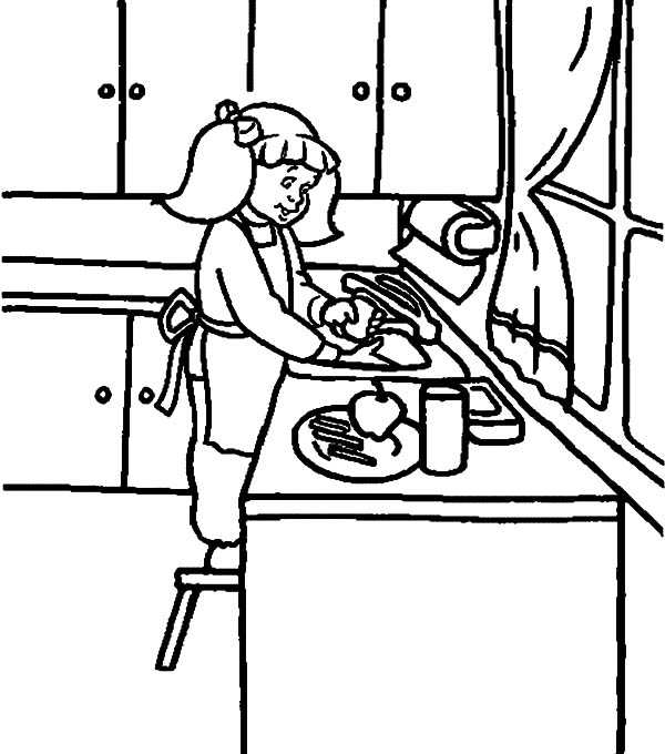 Washing Dish in the Kitchen Coloring Pages Download Print