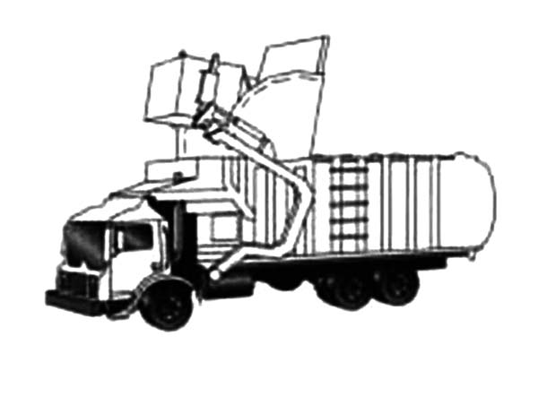 Working Garbage Truck Coloring Pages