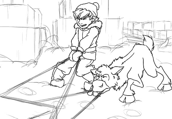 Young kristoff and sven pulling sled full of ice block for Sven coloring pages