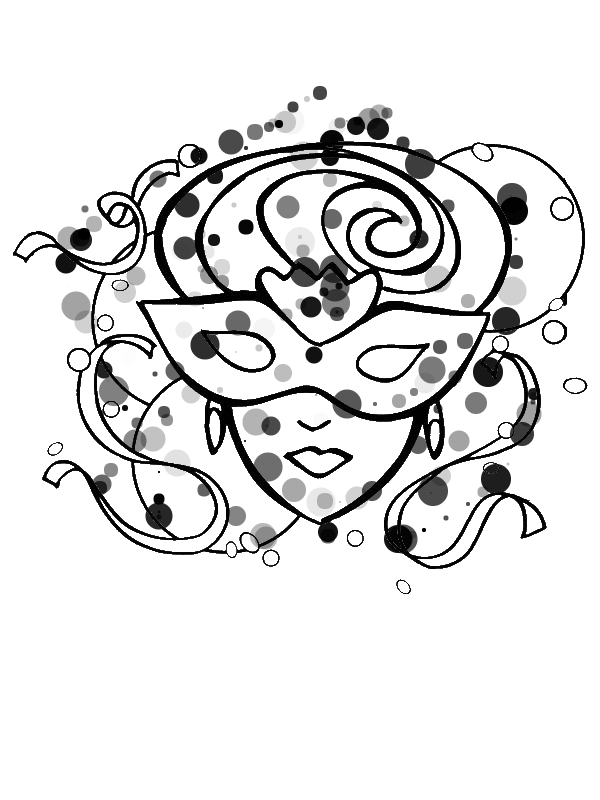 A Beautiful Lady on Mardi Gras Mask Coloring Page Download