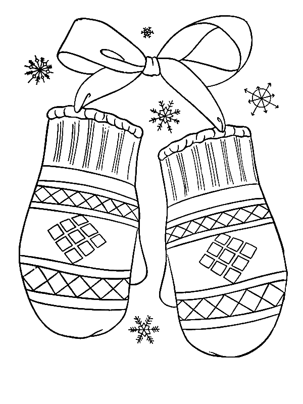A Lovely Winter Mittens Gift Coloring Page - Download ...