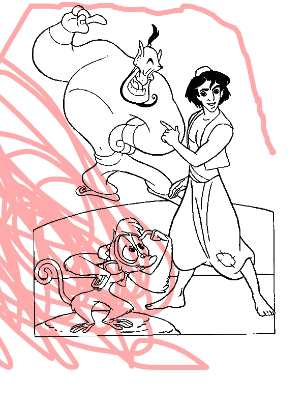 Abu Genie And Aladdin In One Of Their Adventure Coloring