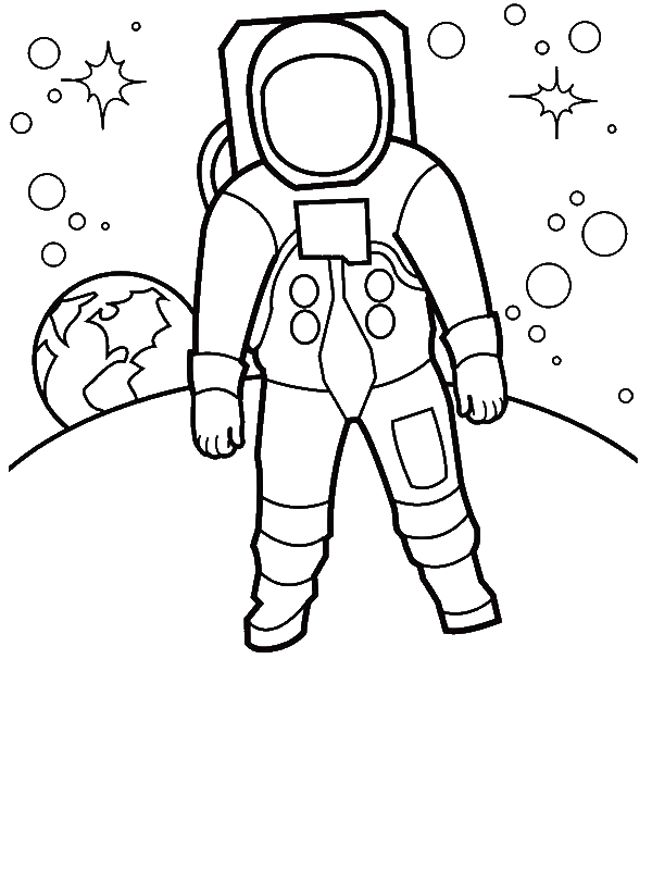 An Astronaut Walking at the Moon Surface Coloring Page by 4 years old Arman