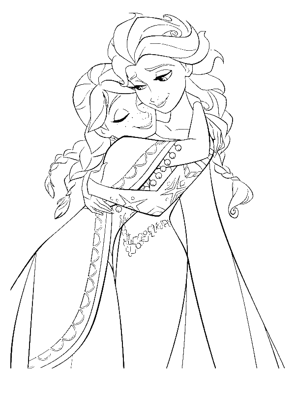 Anna Hugging Elsa The Snow Queen Coloring Page By 23 Years Old Annie Fortin