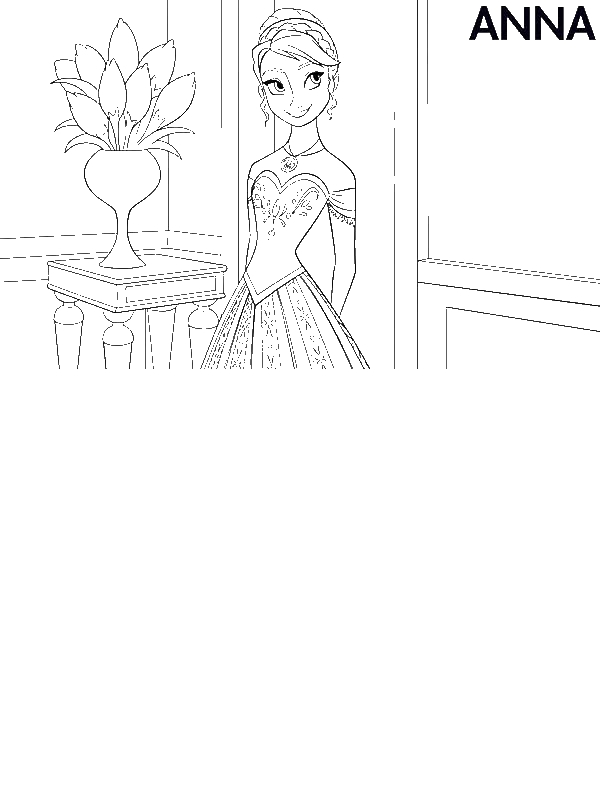 Anna in beautiful dress coloring page download print for Beautiful dress coloring pages