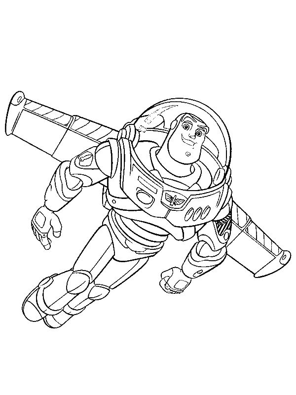 buzz lightyear is flying using his wing in toy story coloring page by years old