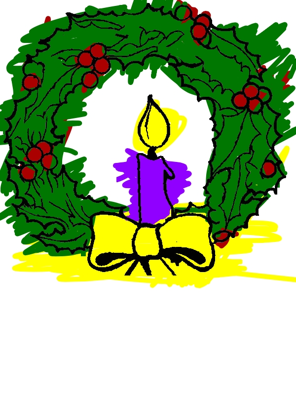 Christmas Candle And Christmas Wreath Coloring Pages