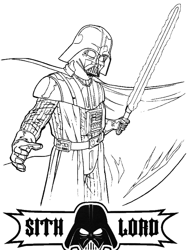 Darth Vader is so Angry in Star Wars Coloring Page Download