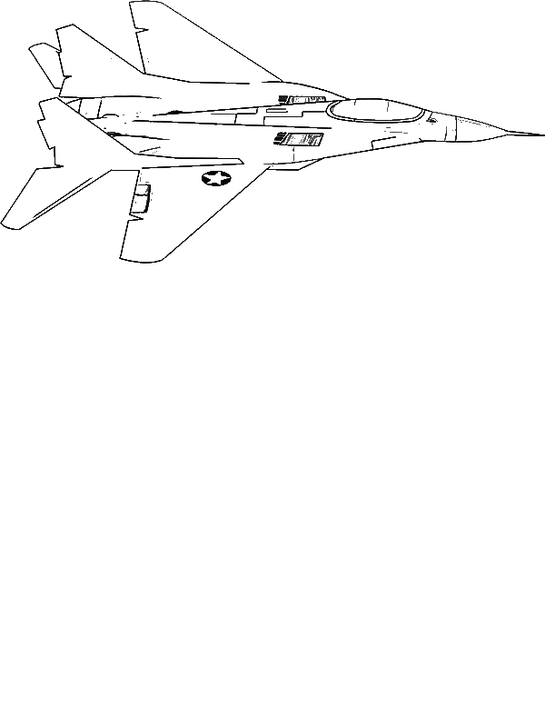 F18 jet fighter coloring page