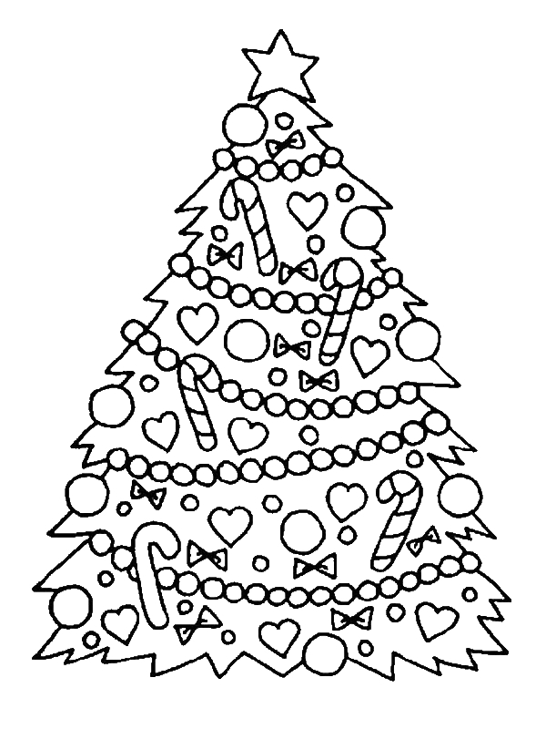Gorgeous Christmas Tree for Christmas Coloring Page Download
