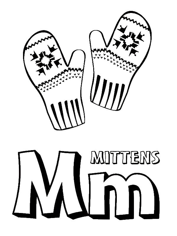 Letter M for Mitten Coloring Page Download Print Online