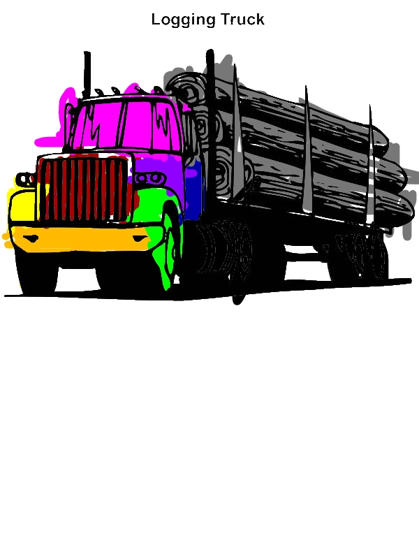 Logging Truck in Semi Truck Coloring
