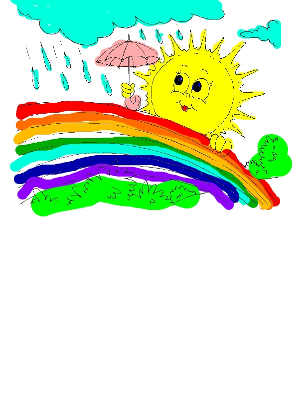 Mrs Sun Using Umbrella During A Rainbow Rain Coloring Page