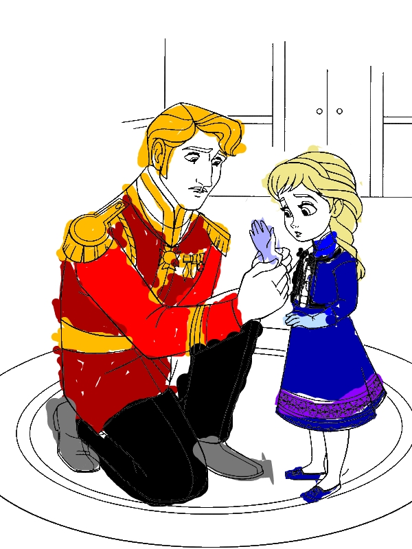 The King Arendelle Put Gloves To Young Elsa Coloring Page By 6 Years Old  Haha