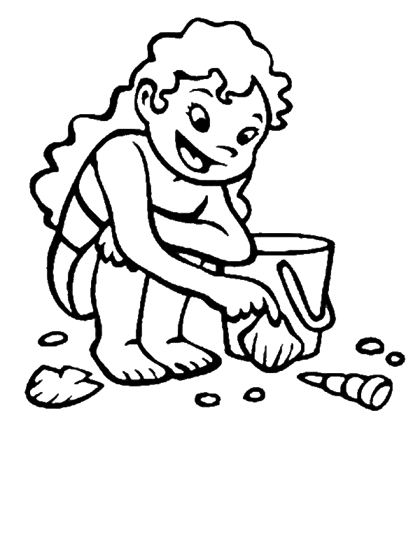 this little girl collecting seashells from the beach sand coloring page by years old - Coloring Page Little Girl