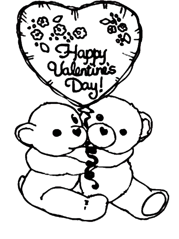 two cute bear say happy valentine�s day coloring page