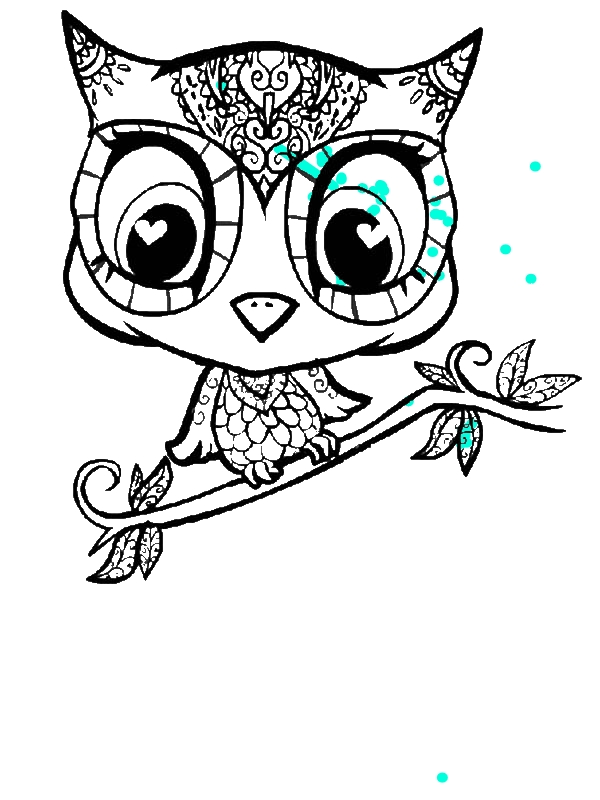 owl cartoon character coloring page by 5 years old nylah