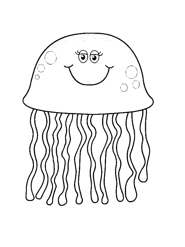 pretty eyes jellyfish coloring page - Download & Print Online ...