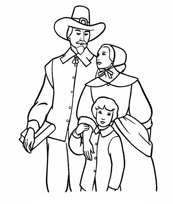 A Pilgrim Family on Thanksgiving Day Coloring Page ...