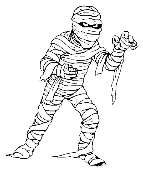 A mummy try to catch you - free coloring page: A mummy try ...