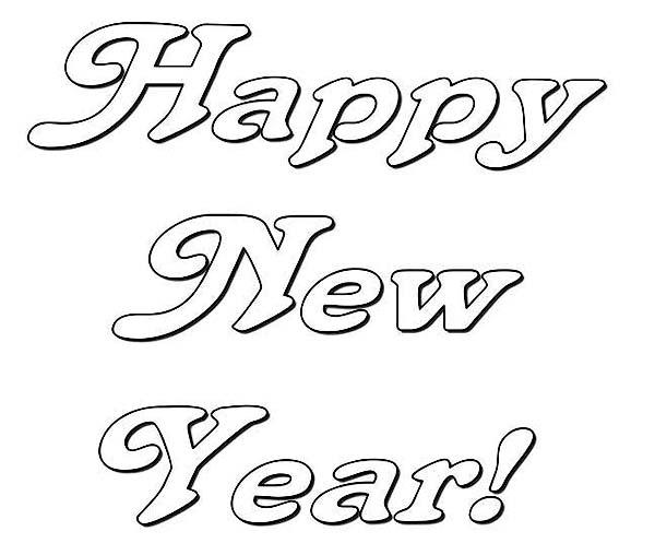 Happy New Years Party Decoration Coloring Page - Download ...