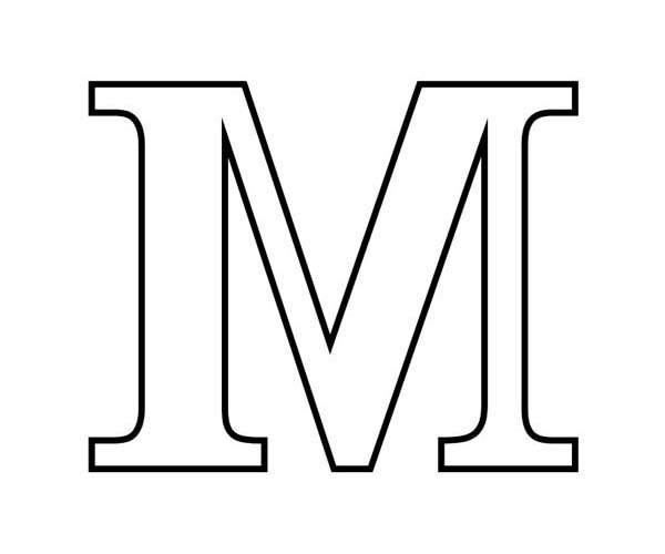 Letter M in Block Letter Coloring Page Download & Print line