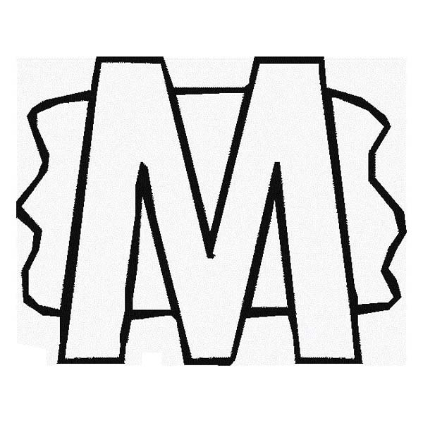 Letter M with Splash Background Coloring Page - Download & Print ...