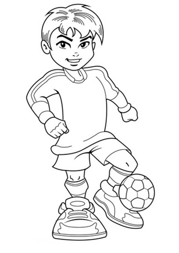 A Cute Boy on Complete Soccer Jersey Coloring Page ...