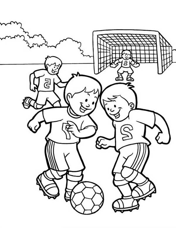 A Group Of Kids Playing Soccer In The School Yard Coloring ...
