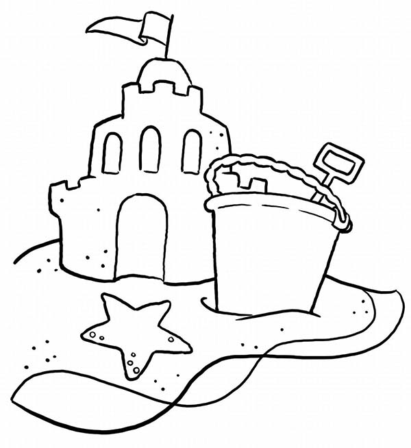 A Typical Beach Sand Castle And Bucket Coloring Page