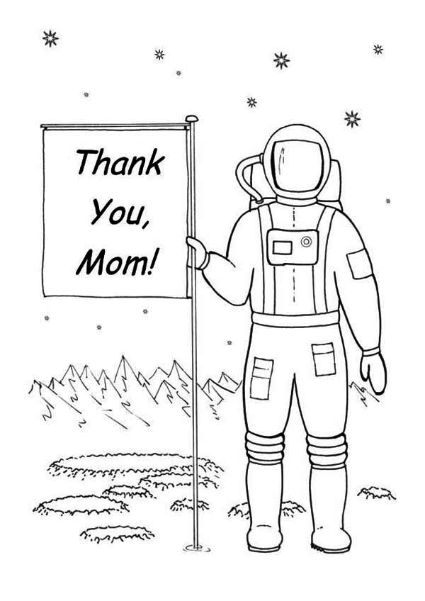 An Astronaut Planting a Happy Mothers