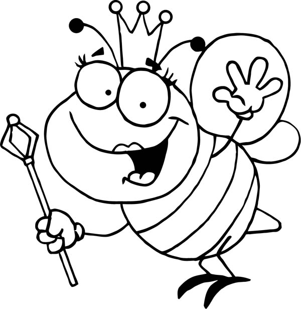 Blebee Queen With Royal Sceptre Coloring Page