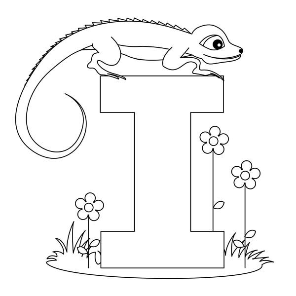 I letter for iguana coloring page Download & Print line