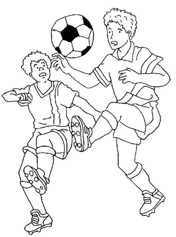 Soccer Players Fighting To Handle The Ball Coloring Page ...